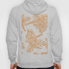 Island Vacation Hibiscus Palm Coral Orange Hoody