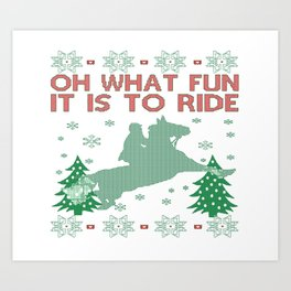 Riding Horse Christmas Art Print