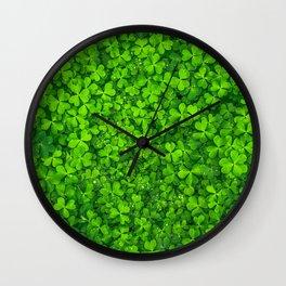 Shamrock Green Irish Clovers Photography Wall Clock