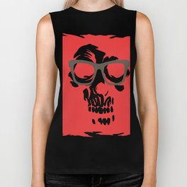 limited edition:amazing skull with glasses red background Biker Tank