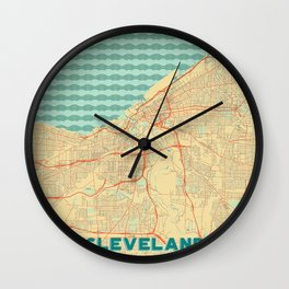 Cleveland Map Retro Wall Clock