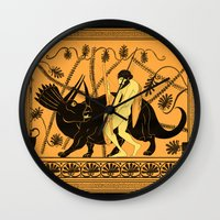 bouletcorp Wall Clocks featuring Taming the Triceratops by Bouletcorp