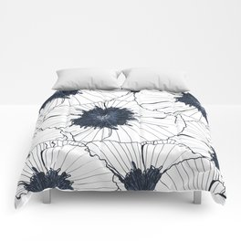 Navy and white poppies Comforters