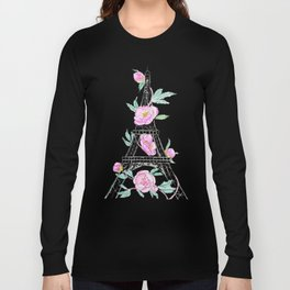 Eiffel tower and peonies Long Sleeve T-shirt