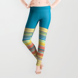 Bright Yellow Blue summer Stripes Leggings