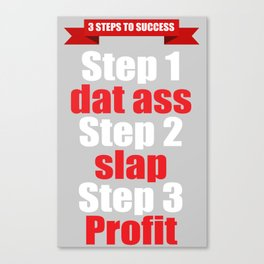3 Steps to Success White Lettering Canvas Print