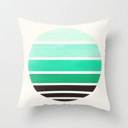 Teal Turquoise Mid Century Modern Minimalist Circle Round Photo Staggered Sunset Geometric Stripe De Throw Pillow