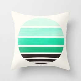 Teal Turquoise Mid Century Modern Minimalist Circle Round Photo Staggered Sunset Geometric Stripe De Throw Pillow