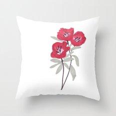 Clarkia Red Flower Throw Pillow