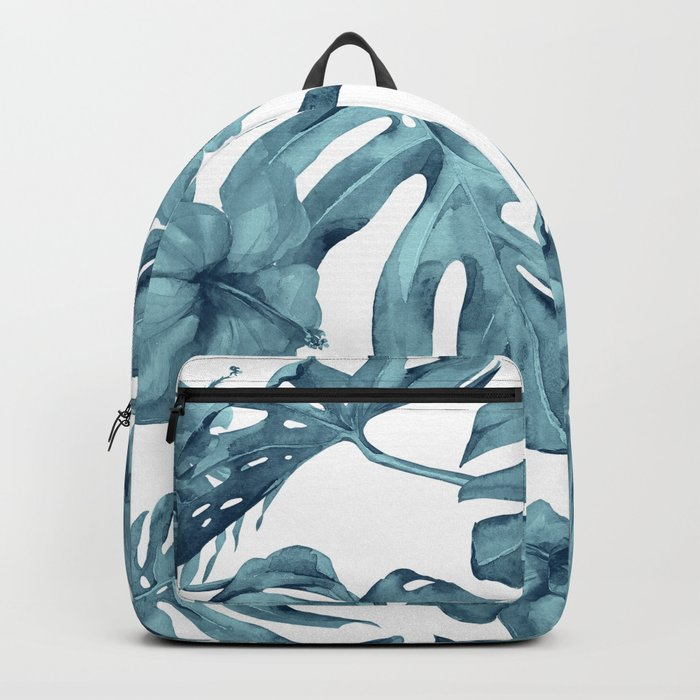Teal Blue Tropical Palm Leaves Flowers Backpack