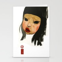 asian Stationery Cards featuring Asian Doll by Young Ju