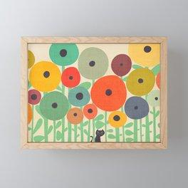 Cat in flower garden Framed Mini Art Print