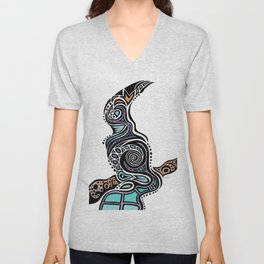 Bird on a Branch - Digital Art Unisex V-Neck