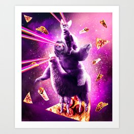 Laser Eyes Space Cat Riding Sloth, Llama - Rainbow Art Print