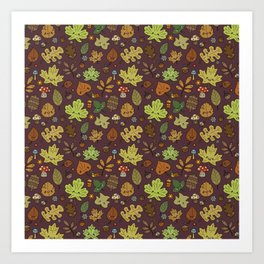 Kawaii Leaves on Red Art Print