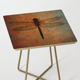 Dragonfly On Orange and Green Background Side Table