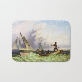 Long Boat off the Coast of Africa by Thomas Baines Bath Mat