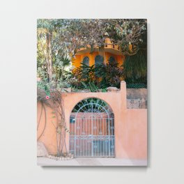 Tropical Puerto Escondido   Mexico travel photography   Colorful front gate Metal Print