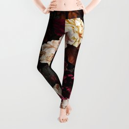 Vintage & Shabby Chic - Midnight Rose and Peony Garden Leggings