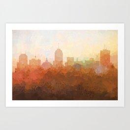 Fresno, California Skyline - In the Clouds Art Print