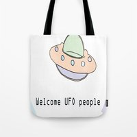 ufo Tote Bags featuring UFO by March Hunger