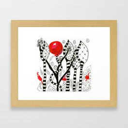 Pop of Color, Red Balloon Zendoodle in Fanciful Forest Framed Art Print