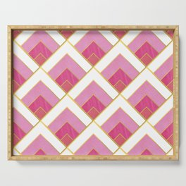 Pink and Gold Diamond Art Deco Pattern Serving Tray