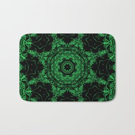 Green and Black Kaleidoscope 3 Bath Mat