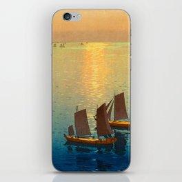 Hiroshi Yoshida Vintage Japanese Woodblock Art Ocean Sunset Sailboat Orange Blue Color Hues iPhone Skin
