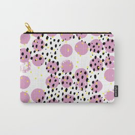 Dots and dashes pop rain colorful abstract design pink Carry-All Pouch