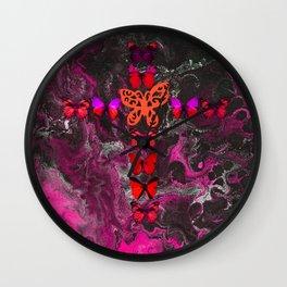 Pink Fire Cross Wall Clock