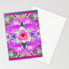 TEAL PINK SPRING LILY FLOWERS PURPLE GARDEN PATTERNS Stationery Cards