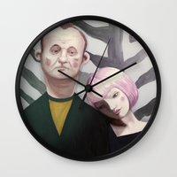 lost in translation Wall Clocks featuring Lost in translation  by Maripili