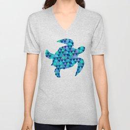 Mosaic Turquoise Sea Turtle Unisex V-Neck