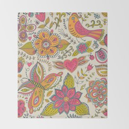 Floral Romantic Pattern 07 Throw Blanket