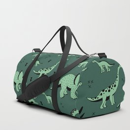 Dinosaur jungle love quirky creatures illustration Duffle Bag