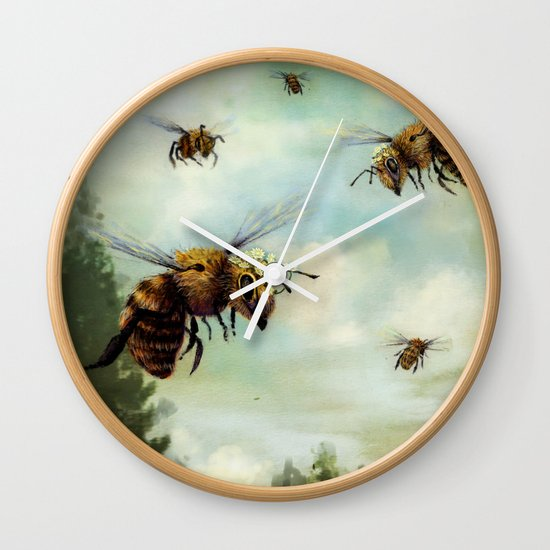 Crown of Bees Wall Clock