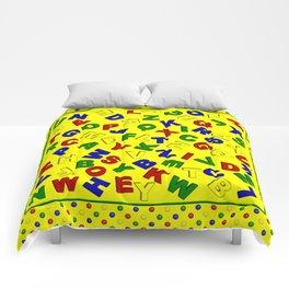 Primary Polka Dots YELLOW Alphabet Comforters