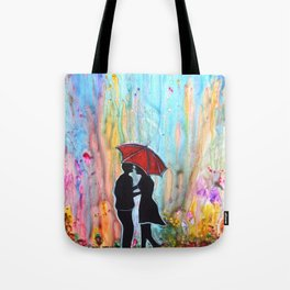A Rainy Date romantic painting giftart Tote Bag