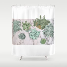 mixed succulents Shower Curtain