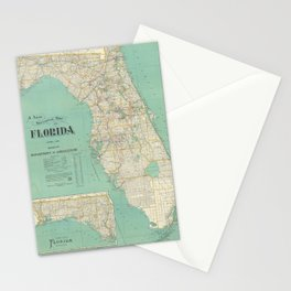 Vintage Florida Map (1916) Stationery Cards