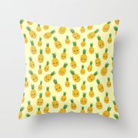 pineapples Throw Pillows featuring Pineapples by Sara Showalter