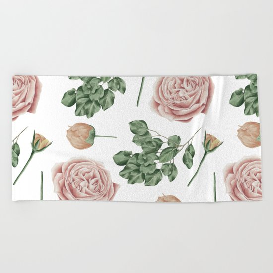 Flower Shop Roses Pattern White Beach Towel