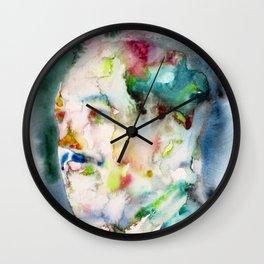 LANGSTON HUGHES watercolor portrait.2 Wall Clock