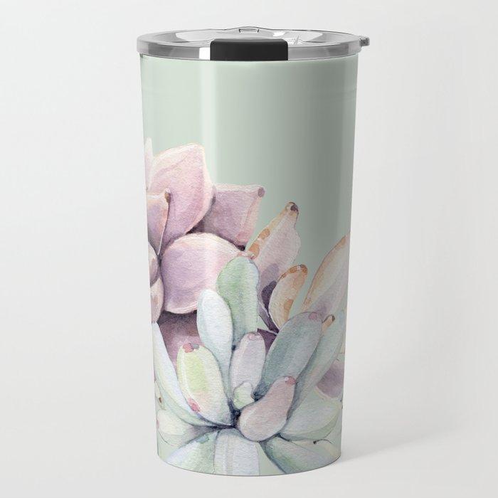 Beautiful Mint Succulents Travel Mug