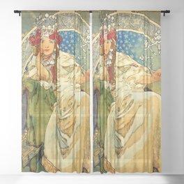 """Alphonse Mucha  """"Princess Hyacinth"""" Sheer Curtain"""
