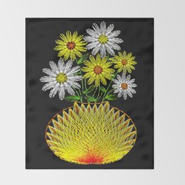 String Art Flowers Throw Blanket