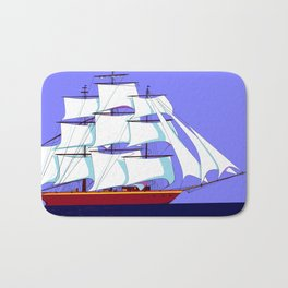 A Clipper Ship Full Sail in Still Waters Bath Mat