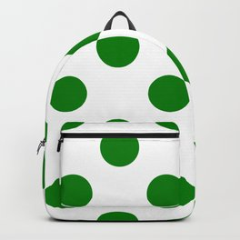 Large Polka Dots - Green on White Backpack