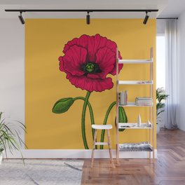 Red poppy drawing Wall Mural